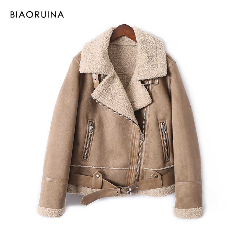 BIAORUINA Women's Moto&Biker Style Suede Patchwork Lamb Keep Warm Thick Winter Jacket Coat Turn-down Collar with Belt