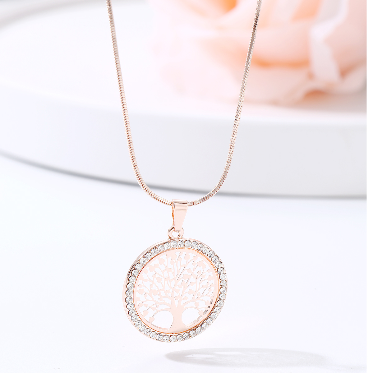 Hot Tree of Life Crystal Round Small Pendant Necklace Gold Silver Color Bijoux Collier Elegant Women Jewelry Gifts Dropshipping 2