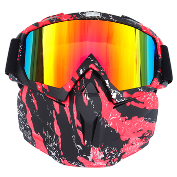 BOLLFO Ski Snowboard szkło skuter Retro narciarstwo gogle wiatroszczelne narciarstwo szkło Motocross okulary z filtr na usta Earware tanie i dobre opinie CN (pochodzenie) Jeden rozmiar Unisex MULTI Jasne Motocross Goggles Motorcycle Glasses Windproof Glass Bike Goggles Multi color