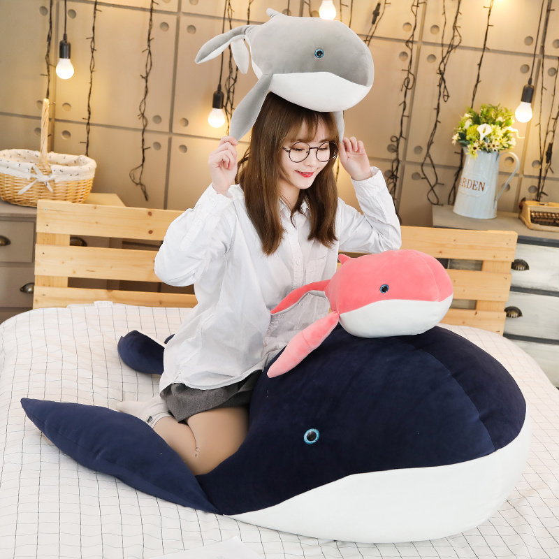 Cute Dream Giant size <font><b>big</b></font> <font><b>Whale</b></font> <font><b>Plush</b></font> Toy <font><b>Whale</b></font> Stuffed Doll Soft Short <font><b>Plush</b></font> Sleeping Pillow Xmas Gift For Kid Children image
