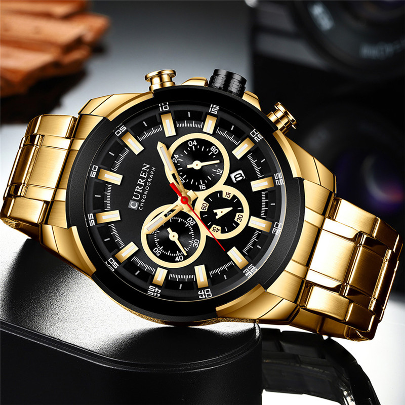 Image 2 - CURREN Man WristWatch Waterproof Chronograph Men Watch Military Top Brand Luxury Gold New Stainless Steel Sport Male Clock 8361Quartz Watches   -