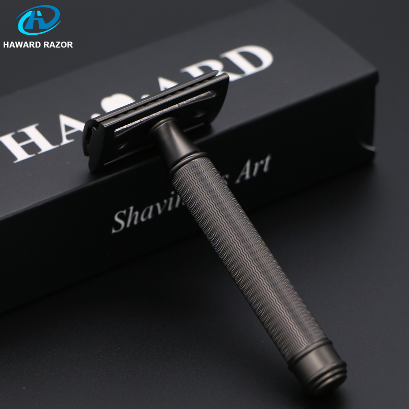 HAWARD Safety Razor Men's Classic Manual Shaver Double Edge Shaving Razor Copper-Zinc Alloy Hair Removal Shaver 10 Shaving Blade