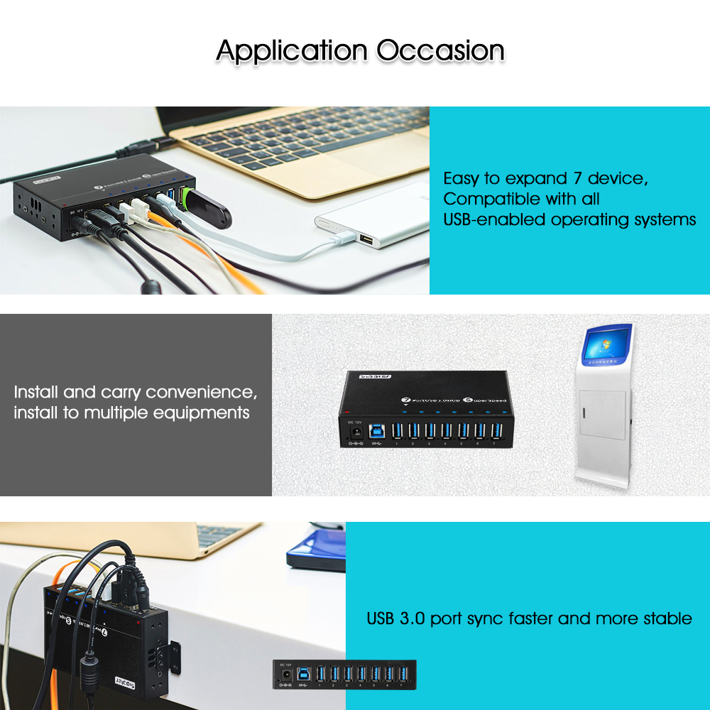 Image 5 - Sipolar Industrial USB 3.0 Charging Hub 7 Ports 12V USB Charger HUB Aluminum With 12V 3A Power Adapter LED Indicator Bracket-in USB Hubs from Computer & Office