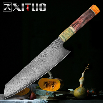 XITUO Kitchen Chef Knife 8 Inch Damascus Forged Sharp Professional Meat Cleaver Nakiri Gyuto Santoku Kinves Stable Wooden Handle