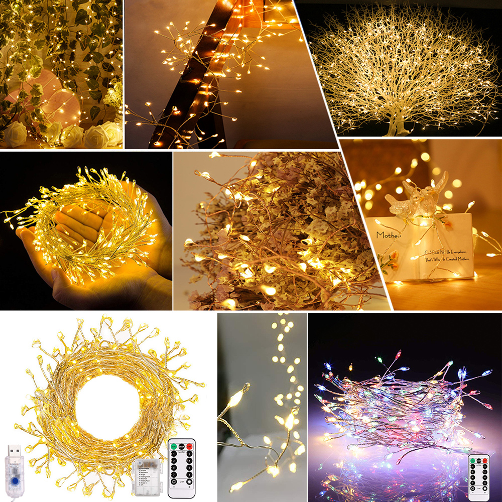 LED Firecracker Fairy Light Waterproof Christmas Tree Decorations Garland LED String Light Outdoor Home Decor USB Battery D30