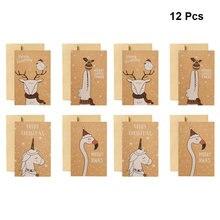 Cartes de vœux en papier Kraft, 12 pièces, cartes de vœux de noël avec Patte d'envolope (licorne, Elk, flamand rose, Crocodile)