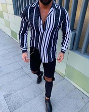 цены на HEFLASHOR men's Winter Shirt men's Fashion Vertical Stripe Slim Long Sleeve Casual Button Shirt Casual men's Shirt 2019 New в интернет-магазинах