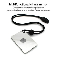 Multifunction Survival Emergency Rescue Signal Mirror Acrylic Heliograph With Whistle Rope Outdoor Tools 75x50x5.5mm