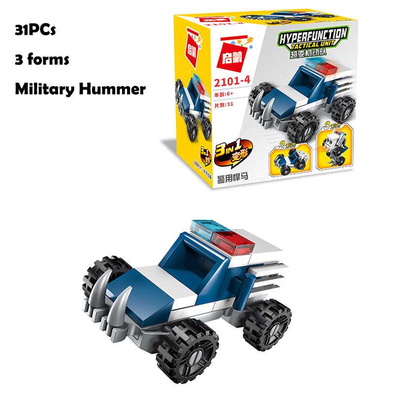 Hipac ハイテクビルディングブロックフィギュアのおもちゃセットロボットマシンガン護衛船ビルディングブロックテクニック軍用車