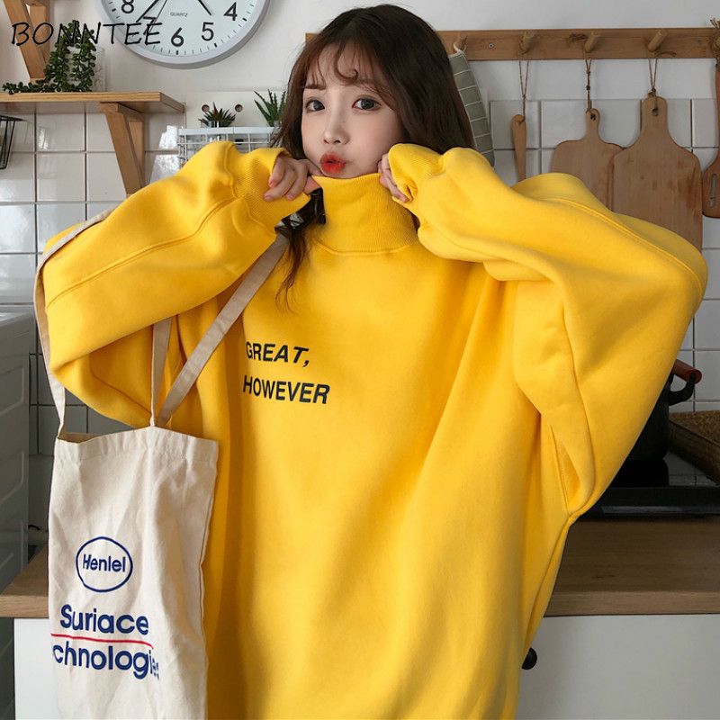 Hoodies Women Turtleneck Warm Winter All-match Korean Style Trendy Loose Casual Pullover Womens High Quality Clothes Students