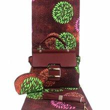 Micle אופנה אפריקאי שעווה תיק סטי 3 יחידות\סט אנקרה שעווה תיק התאמת 6 מטרים אמיתי הטוב ביותר רך חדש שעוות בד
