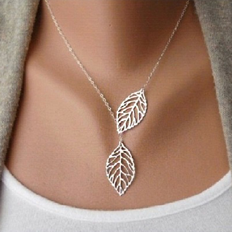 Creative Simple Double Gold Leaf Pendant Necklace Women's Trend Punk Tassel Chain Pendant Fashion Ladies Party Jewelry Gifts