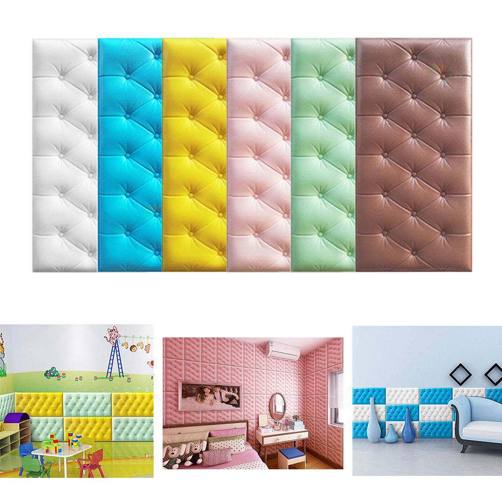 3D Self Adhesive Foam Wallpaper Faux Leather PE Waterproof Wall Stickers For Kids Rooms Bedroom Living Room Nursery Home Decor