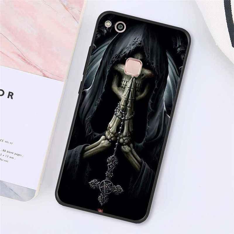 Maiyaca ölüm namaz Grim Reaper İskelet kafatası telefon kılıfı için Huawei Y9 Y7 Y6 II Y5 II Y7 başbakan 2018 2019