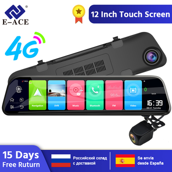E-ACE D14  Car Dvr 12 Inch Streaming Rear View Mirror 4G Android GPS Navigation Dash Cam FHD 1080P ADAS Wifi Auto Registrar