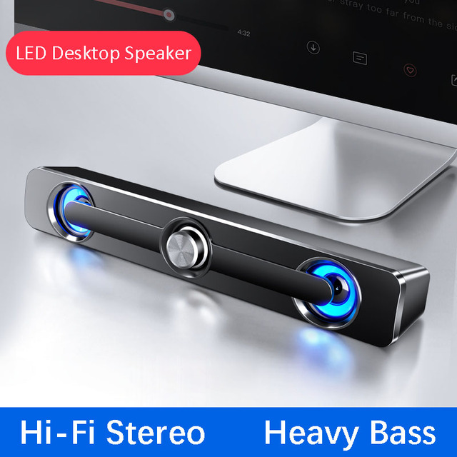 USB Wired Computer Speaker Bar Stereo Subwoofer Powerful Music Player