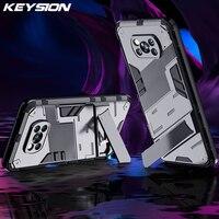 KEYSION a prueba de golpes a prueba de funda de teléfono para Xiaomi POCO X3 NFC M3 Mi 11 11i 10S 10T Lite soporte funda trasera del teléfono para teléfono móvil F3 F2 Pro M2