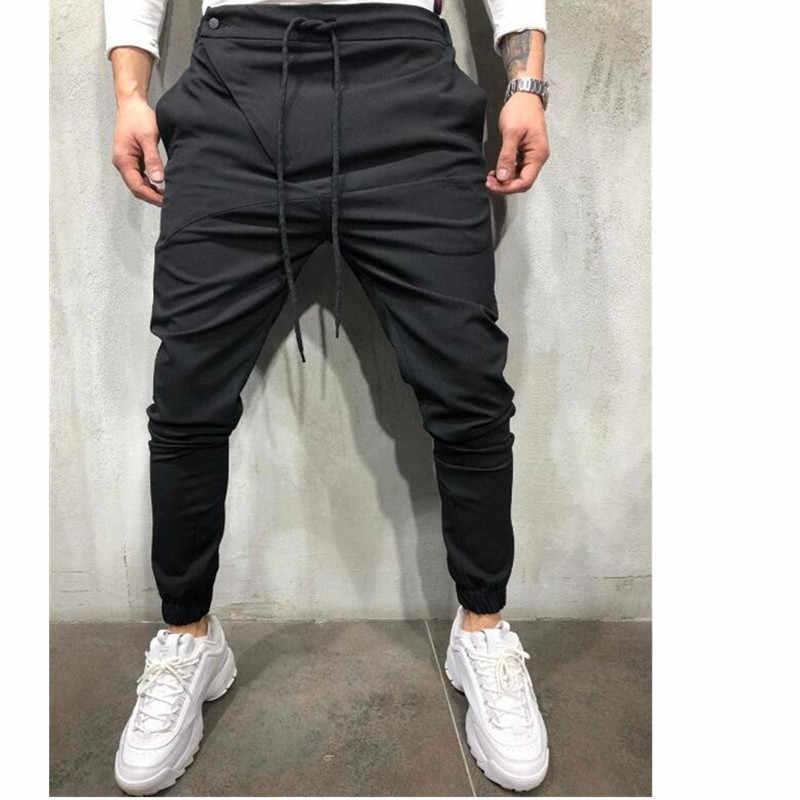 2020 Pria Streetwear Celana Hitam Celana Hip Hop Olahraga Kebugaran Joging Celana Pria Punk Celana Kurus Celana Pria Murni warna Celana