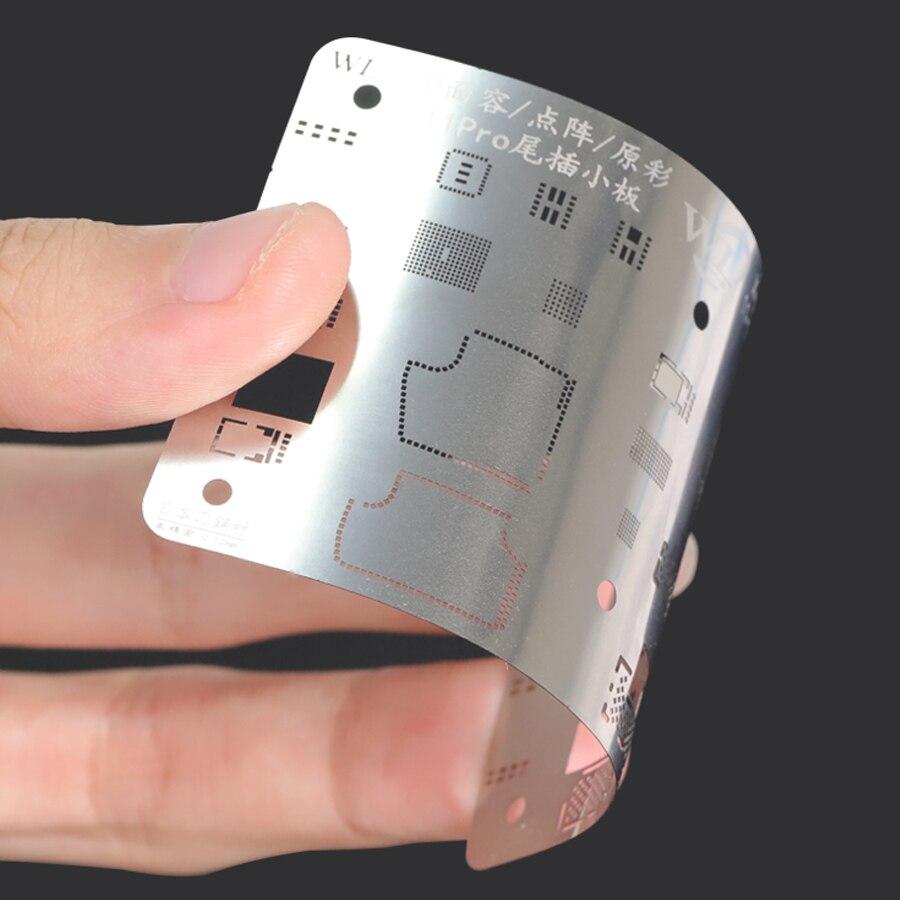 WL BGA Reballing Stencil Tin Planting Steel Mesh for iPhone X-11Pro max Face ID/Dot Matrix/Original Color/Tail Plug Small Plate 2
