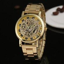 Luxury Men Watches Fashion Hollow Transparent Stainless Steel Quartz Gold montres homme horloge man