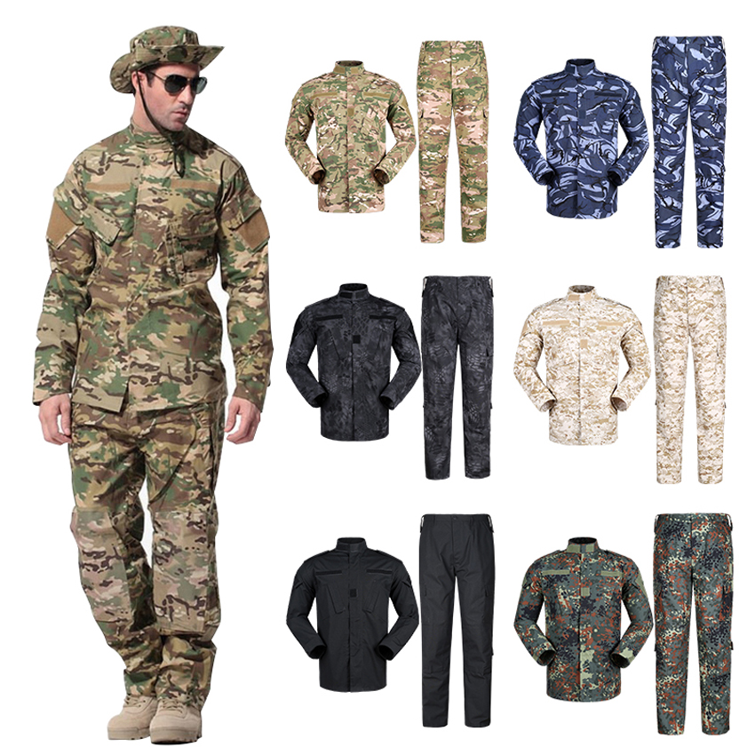 WW2 Security Team Army Suit Man Military Uniform Combat Jacket+pants with Pocket Multi Camouflage CP ACU Tactical Costumes image