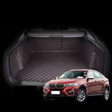 Lsrtw2017 Leather Car Trunk Mat Cargo Liner for Bmw X6 2015 2016 2017 2018 2019 BMW F16 Rug Carpet Interior Accessories