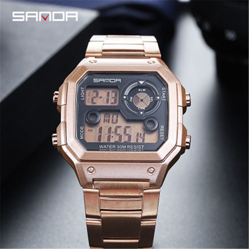 New Stainless Steel Digital Wristwatches Military Clock Sports Men Women Watches Waterproof Casual Watch Relogio Masculino 2019 in Digital Watches from Watches