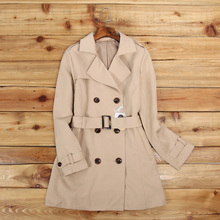Spring and Autumn new long section of female trench coat retro classic double-br