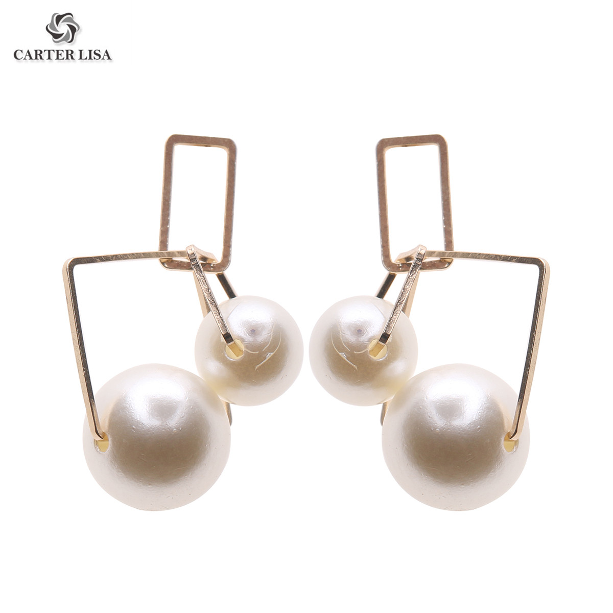 CARTER LISA 2019 New Hot Selling Fashion Simulated Pearl Geometric Earrings Pearls Statement Drop Dangle Earrings HDEA-094