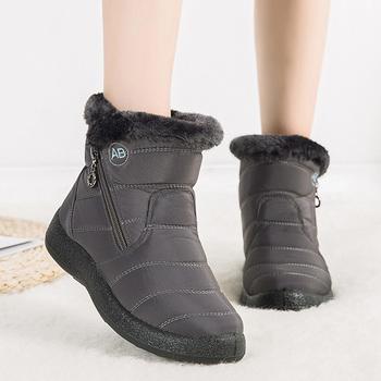 2021 nowych kobiet buty zimowe śnieg buty wodoodporne ciepłe pluszowe trzewiki dla kobiet buty zimowe buty kobieta botki kobieta 43 44 tanie i dobre opinie LAKESHI CN (pochodzenie) Dół ANKLE zipper Stałe YF77 Mieszkanie z Buty śniegu Krótki pluszowe Futro Okrągły nosek