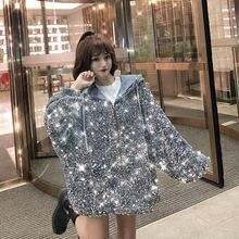 Женская Осенняя куртка с капюшоном блестящая большого размера