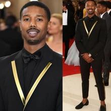 Men Suits Jacket Pants Costume Wedding-Tuxedo Lapel Gold-Pattern Black Male Fashion 2piece
