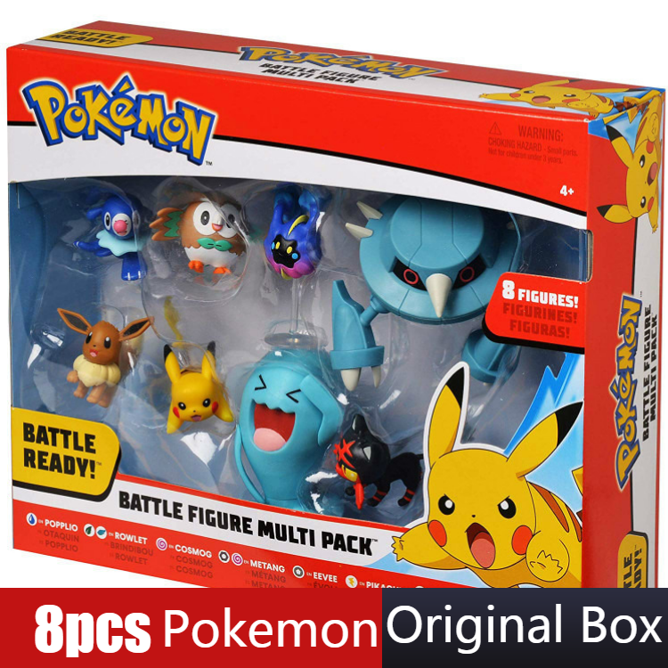 8pcs/set Pokemon Pikachu Figures Popplio Rowlet Cosmog Metang Eevee Litten Wobbuffet Pika Action Figure Toys For Children