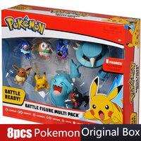 8pcs/set Pokemon Pikachu figures Popplio Rowlet Cosmog Metang Eevee Litten Wobbuffet Pika Action Figure Toys for Children