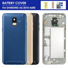 For SAMSUNG Galaxy A6 A600F SM-A600FN/DS A600 2018 Back Battery Cover A6 A600F Middle frame Full Housing + Sticker