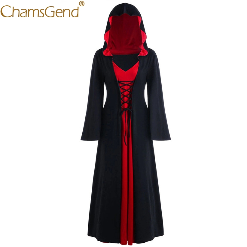 Free Shipping Women Gothic Hoody Witch Long Dress Crisscross Bandage Cospaly Costume For Halloween Stage Play Show 9822
