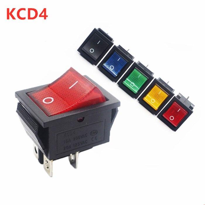 KCD4 кулисный переключатель ВКЛ-ВЫКЛ 2 положения 4 контакта электрооборудование с светильник выключатель питания 16A 250VAC/ 20A 125VAC