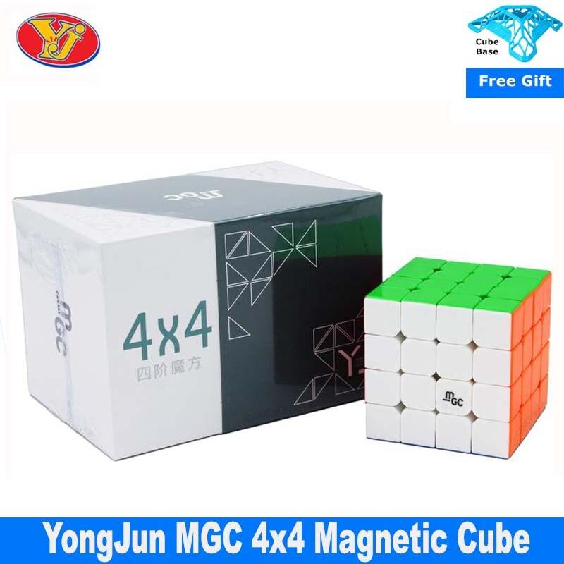Магнитный скоростной куб Yongjun MGC 4x4 черный YJ MGC 4x4x4 пазл без наклеек волшебный куб обучающие игрушки для детей