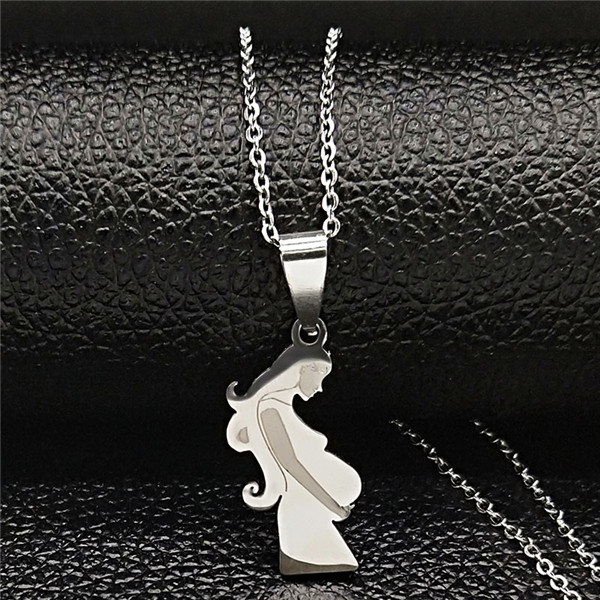 Mom Daughter Stainless Steel Chain Necklace Silver Color Necklaces Pendants Jewelry mujer Mother's Day Christmas Gift N539S01 23