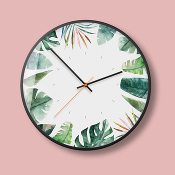 Nordic Green Planting Wall Clock Creative Modern Simple Art Wall Clock Living Room Atmospheric Wall Clock Home Decor 50A069
