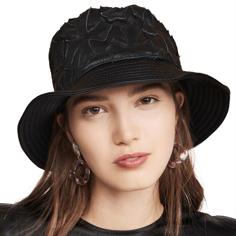 Wholesale Genuine Leather Harajuku Hip Hop Cap Bucket Hat Women Petal Stripes Fisherman Sheepskin Hat lady Bob Panama
