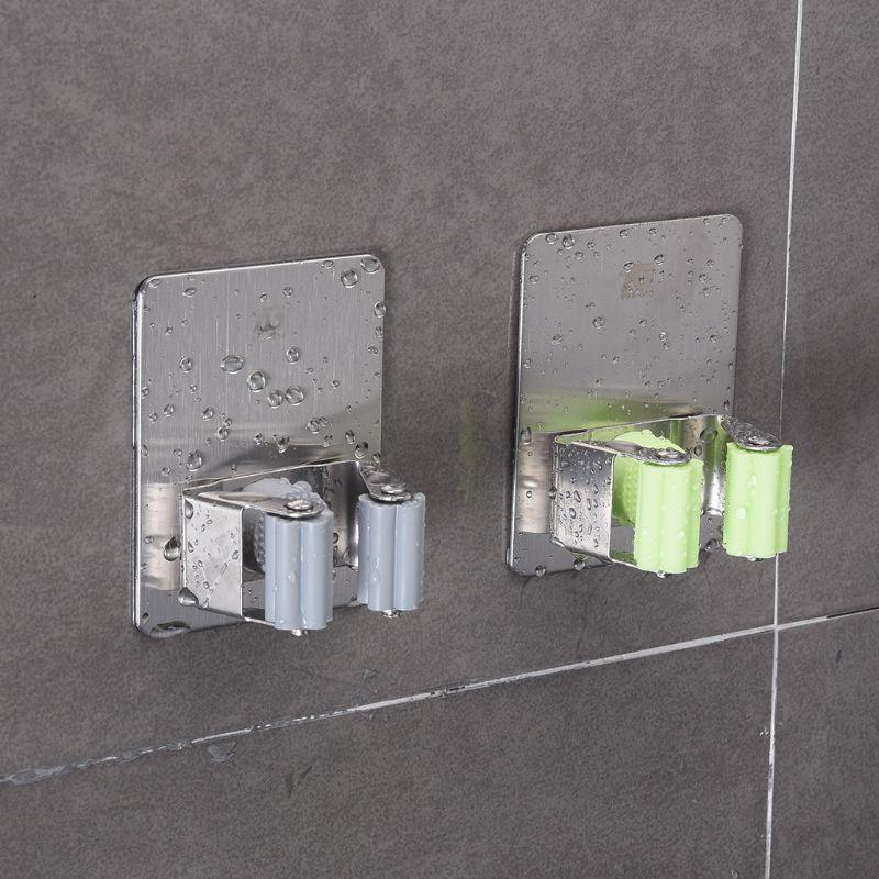 Wall Mounted Mop Holder Brush Broom Hanger Rack Kitchen Tool Waterproof Kitchen Bathroom Space Saver