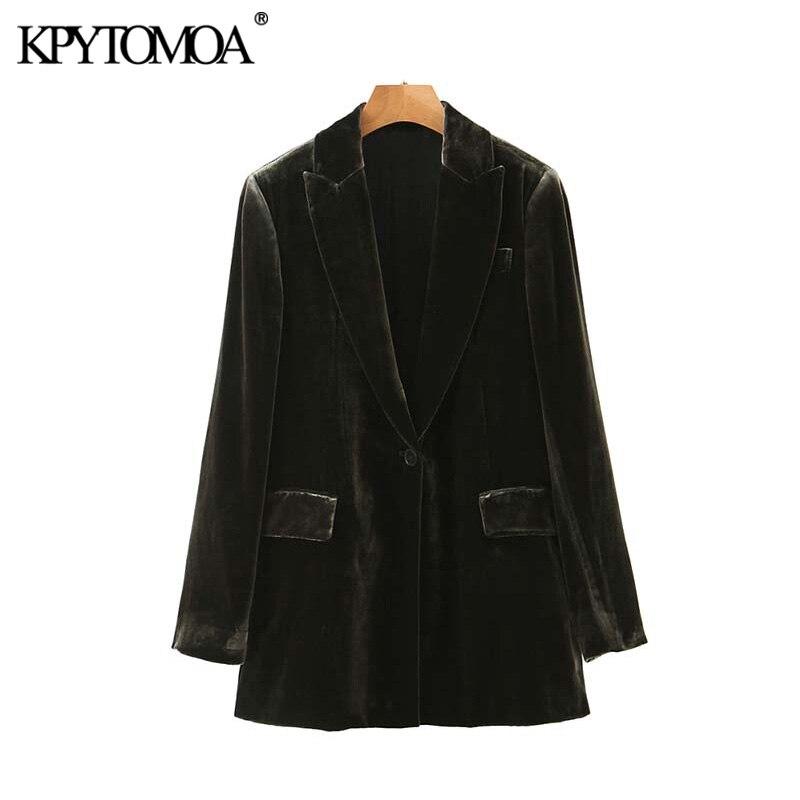 Vintage Stylish Office Wear Pockets Velvet Blazers Coat Women 2020 Fashion Long Sleeve Side Split Female Outerwear Chic Tops