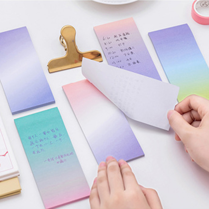 Kawaii Gradient Block Post Memo Pad Sticky Note Paper Memopad Sticker Cute Flash Study Card Stationary School Office Accessory