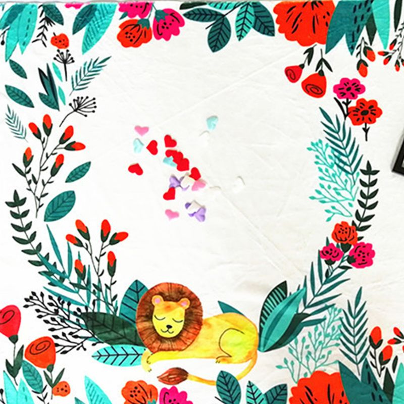 Little Lion Printing Pattern Infants Milestone Photography Blanket Baby Creative Photo Background Cloth Decoration in Blanket Swaddling from Mother Kids