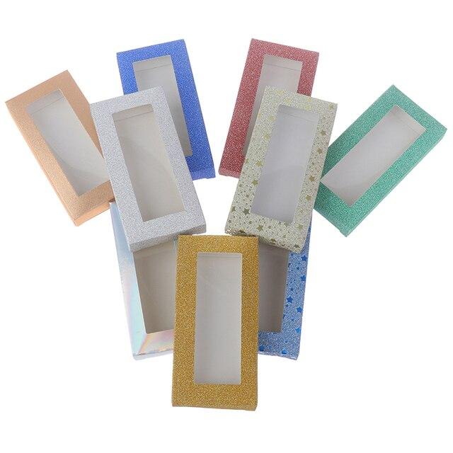 10 satz/los 25mm-Blank Wimpern Platz Box Farbe Karton Mit Tablett DIY Individuelles Logo Flash-Für Paket Papier box