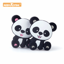 Keep&Grow 10pcs Panda Silicone Beads Animal Teethers BPA Free Baby Teething Neck