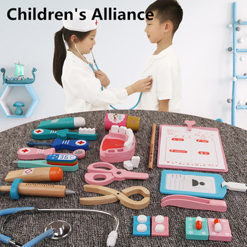 Kids Wooden Dentist Set Simulation Family Doctor Nurse Medical Kit Toy Pretend Play Hospital Medicine Accessorie Children Toy kids toys doctor set baby suitcases medical kit cosplay dentist nurse simulation medicine box with doll costume stethoscope gift