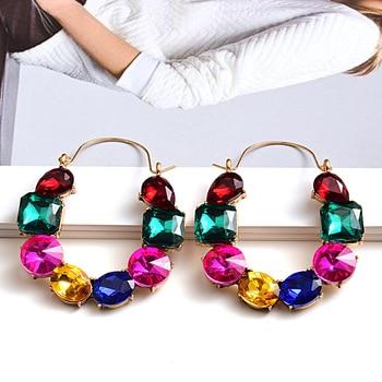 Colorful Rhinestones Crystals Circular Earrings  1