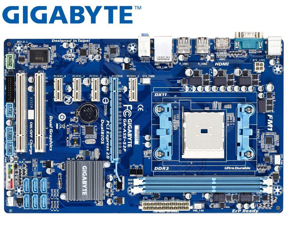 Gigabyte GA-A55-S3P Original Motherboard  Socket FM1 DDR3 A55-S3P USB2.0 32GB SATA II A55 Desktop Motherboard PC